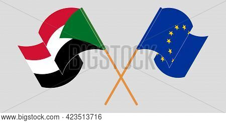 Crossed And Waving Flags Of Sudan And The Eu