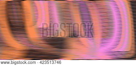 Bright Multi Color Abstract Texture With Soft Blending Of Rounded Shapes And Moire Effect. Vector Ba