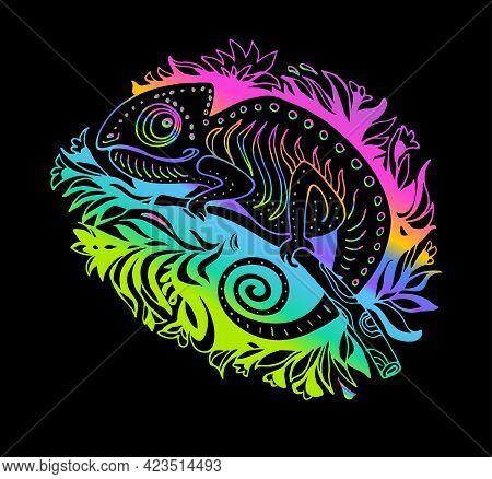 Doodle Iridescent Stylized Chameleon Isolated On Black Background. Hand Drawn Reptile Vector Illustr