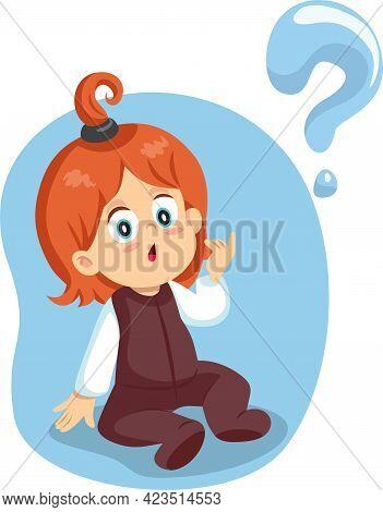 Little Toddler Girl Having Questions Vector Illustration