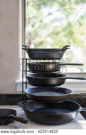 Easy Way To Organize Kitchen Skillets And Pan Rack,  And Aid In Gaining Space And Efficiency
