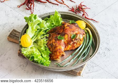 Whole Chicken In Tray With Lettuce, Lemon And Scallion, Healthy Food Salad Concept