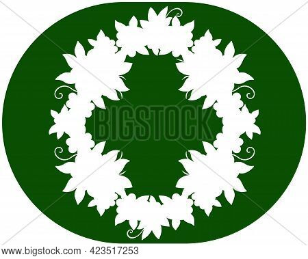 Herbal Round Frame - Vector Image. Background With Green-white Wreath. Background Or Label With Copy