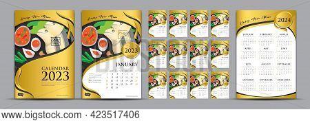 Desk Calendar 2023 Set And Calendar 2024 Year Vector Template, Gold Cover Calendar 2023 Design, Wall