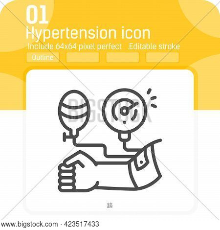 Hypertension Line Icon Isolated On White Background. Vector Illustration Hypertension Sign Symbol Ic