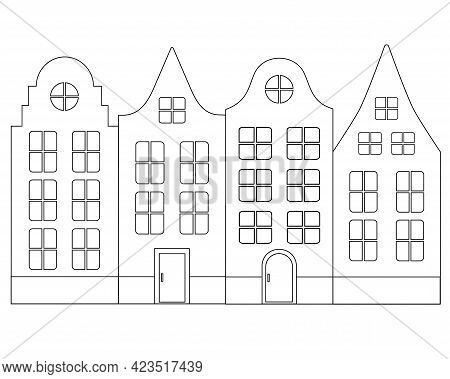 European Classic Houses - Vector Linear Illustration For Coloring. Outline. Dutch Houses - An Elemen