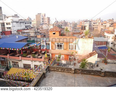 Arial View Landscape Cityscape And Local Life Lifestyle Of Nepali At Thamel Old Town With Antique Re