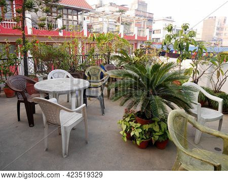 Terrace Of Classic Vintage Retro Building Resort For Nepali People Living And Foreign Guest Traveler