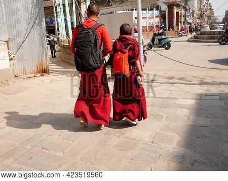 Tibetan Monks Walk Travel Visit Respect Praying Stupa Buddha Deity God Statue And Looking Monkey Pla