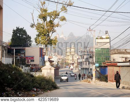 View Landscape Cityscape And Mountain Swayambhunath Stupa Or Monkey Temple And Traffic Road With Loc
