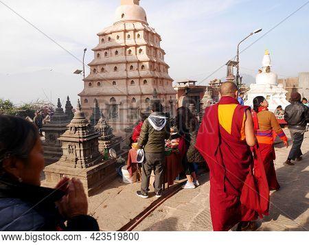 Stupa Chedi At Swayambhunath Pagoda Or Swayambu Or Swoyambhu Or Monkey Temple For Nepali People And