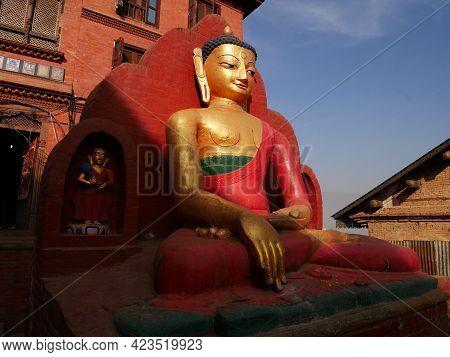 Buddha Statue Nepalese Style At Swayambhunath Pagoda Or Swayambu Chedi Or Swoyambhu Stupa Or Monkey