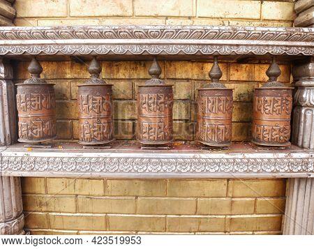 Prayer Wheels On Wall Of Hariti Nepalese Golden Shrine Or Ajima Hindu Gold Temple At Swayambhunath P