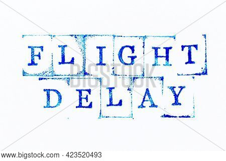 Blue Color Ink Rubber Stamp In Word Flight Delay On White Paper Background