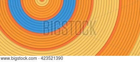 Concentric Circles Orange And Blue Colors. Geometric Shapes. Minimalistic Design. Vector Background
