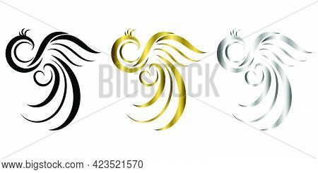 The Abstract Vector Three Color Black Gold Silver Image Of A Phoenix It Is Suitable For Making Logos