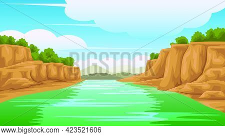 Illustration Of A View Of The River On The Side Is Rocky. And There Are Mountains On The Back  It Wa