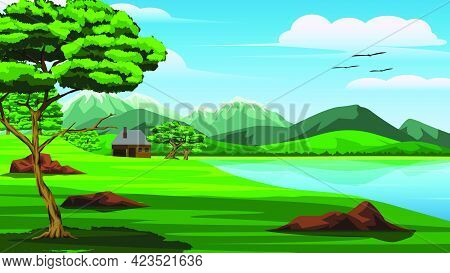 Illustration Of A View Of Mountains Lake Trees Grassland Sky And And A Small House On The Edge Of Th