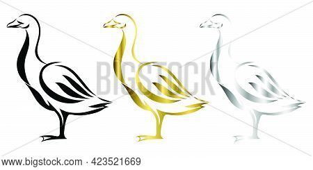 Vector Line Art Illustration Logo Of A Goose It Is Standing There Are Three Color Black Gold And Sil