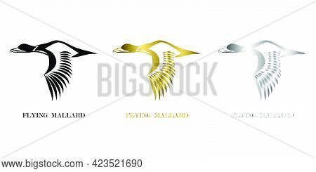 Line Art Vector Logo Of Mallard That Is Flying Three Color Black Gold Silver