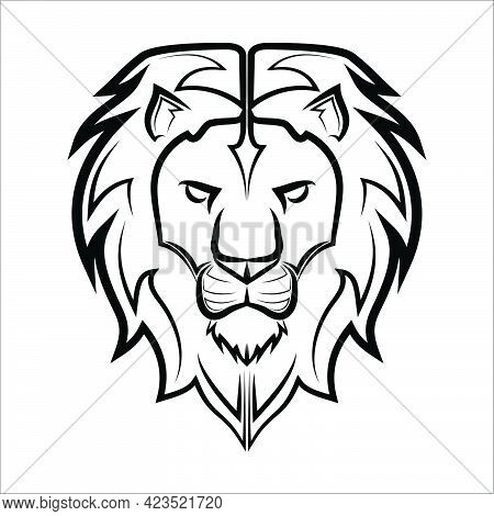 Black And White Line Art Of The Front Of The Lion Head It Is Sign Of Leo Zodiac Good Use For Symbol