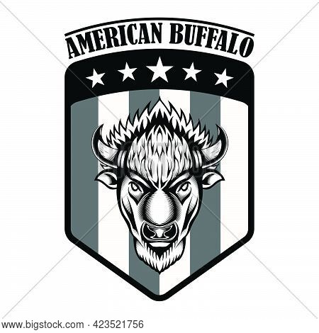 Vintage Logo American Bison Buffalo On The American Flag Emblem