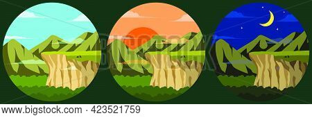 Illustration Of A View Of Cliff Mountains And Sky There Are Wolves Resting On The Cliff There Are Th