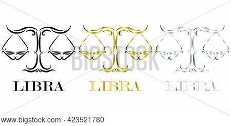 Line Vector Logo Of Scales It Is Sign Of Libra Zodiac There Is Three Color Black Gold Silver