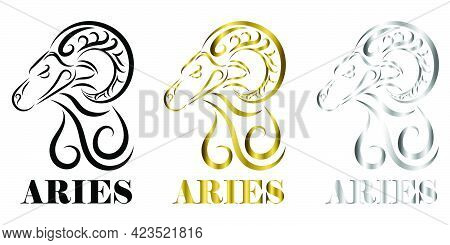 Line Vector Logo Of Sheep Head It Is Sign Of Aries Zodiac Three Tree Color Black Gold Silver