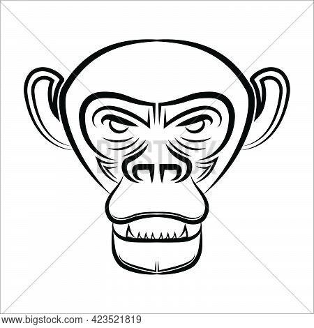 Black And White Line Art Of Chimpanzee Head Good Use For Symbol Mascot Icon Avatar Tattoo T Shirt De