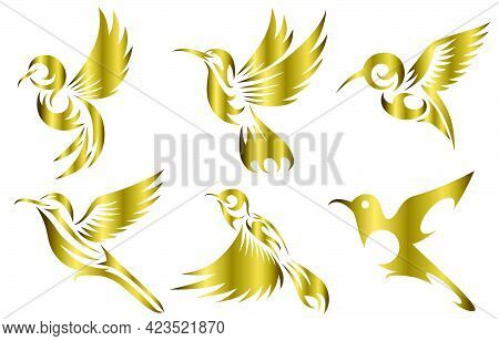 Line Art Gold Vector Illustration Six Image Set Of Flying Hummingbirds. Suitable For Making Logos...