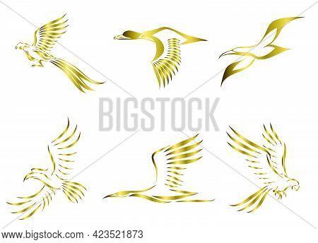 Set Of Six Gold Vector Images Of Various Birds Flying Such As Pheasant Seagull Mallard Crane Hornbil
