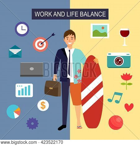Work And Life Balance Concept Vector Illustration. Half Man In Suit With Business Icon And Another H