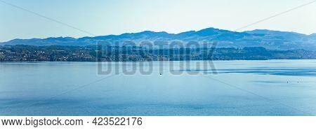 Lake Zurich In Wollerau, Canton Of Schwyz In Switzerland, Zurichsee, Swiss Mountains Landscape, Blue
