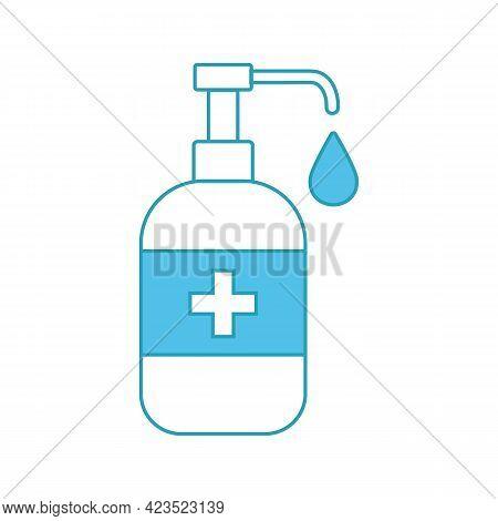 Disinfection. Sanitizer Bottle, Washing Gel. Virus Related Icons. Editable Stroke. Coronavirus Preve