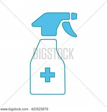 Plastic Spray Bottle, Hygiene Cleaning. Flat Vector Icon Illustration. Simple Symbol On White Backgr
