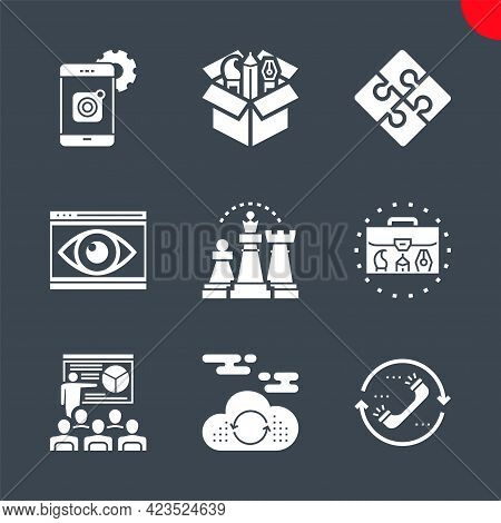 Seo Related Vector Glyph Icons Set. Mobile Apps Development, Cloud Computing, Seo Training, Strategy