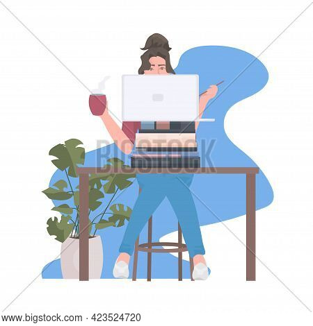 Busy Woman Freelancer Sitting At Workplace Using Laptop During Coronavirus Pandemic Quarantine