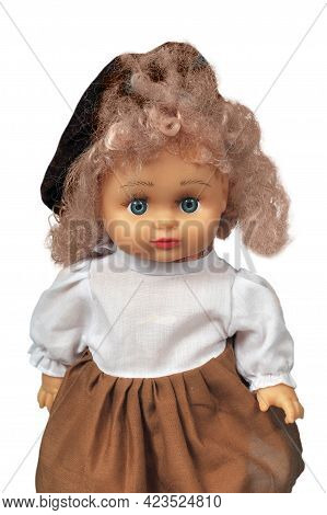 Girl Doll Wearing A Beret And A Brown Skirt Portrait Close Up Isolated On A White Background, Girl C