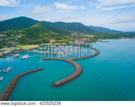 An Aerial View Of Coral Sea Marina In Airlie Beach, Queensland