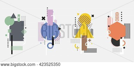 Set Of Creative Modern Geometric Elements Isolated On White Background. You Can Use For Badge, Label