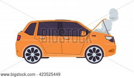 Broken Car. Cartoon Automobile And Smoke Rising From Open Hood. Insurance Cases. Isolated Transport
