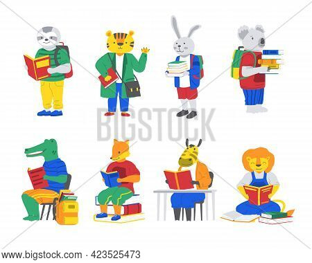 Animals With Books. Cartoon Characters Go Back To School. Crocodile And Fox Read. Koala Or Rabbit Ca