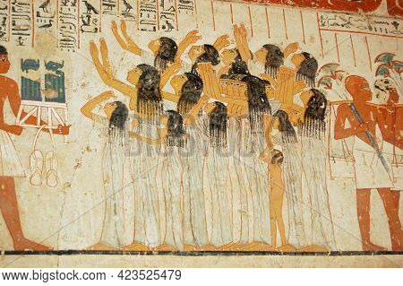 Ancient Egyptian Mural Showing Women Mourning At A Funeral Procession.  Tomb Of The Ancient Egyptian