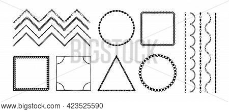 Chain Frames. Black Metal Necklace Borders. Isolated Silhouettes Of Jewelry Ornament Elements. Decor