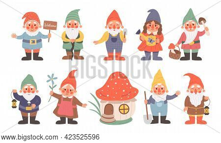 Fairy Dwarf. Cartoon Gnome Characters With Funny Hats. Little Magical Bearded Midgets. Isolated Fict