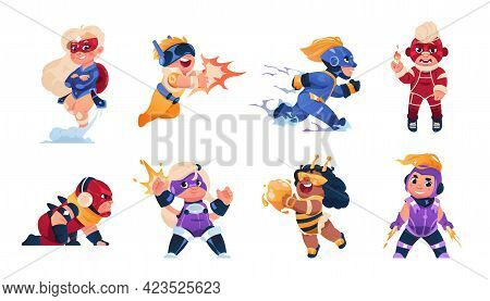 Superhero Kids. Cartoon Children In Funny Carnival Costumes. Cute Strong Boys And Girls With Superpo