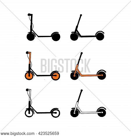 Electric Scooter Icon Set. Hand Drawn Doodle. Vector, Minimalism Transport