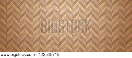 Wooden Floor Seamless Texture. Realistic Herringbone Parquet. Interior Cover. Building Material. Flo