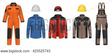 Realistic Workwear. Overall Uniform Clothes. Jacket And Helmet. Comfortable Protective Coveralls. Pl